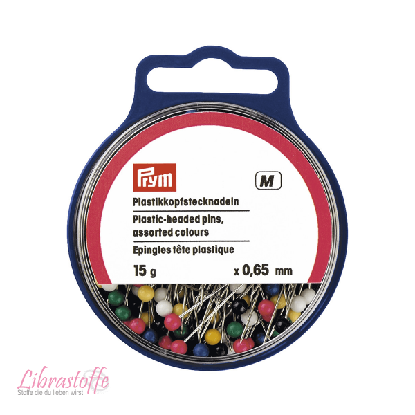 Prym Plastikkopfstecknadeln, 0,65 x 34mm, bunt